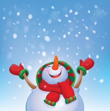 Vector happy snowman and snowfall