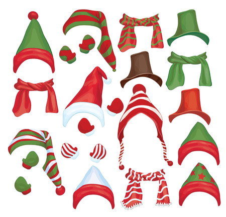 Vector set of hats, scarfs and gloves for design isolated