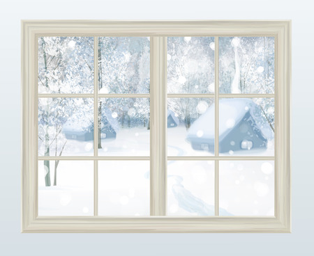 Vector window with  view of snowy background.