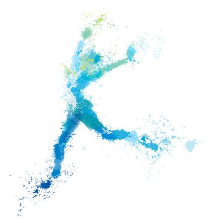 Vector jumping woman, splash artwork.