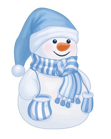 Vector  happy snowman cartoon isolated.