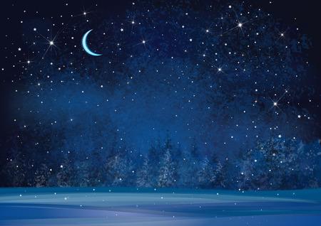 Ilustración de Vector winter wonderland night background. - Imagen libre de derechos