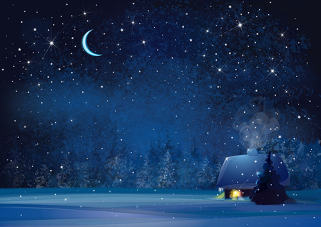 Vector night winter landscape with house and forest background.