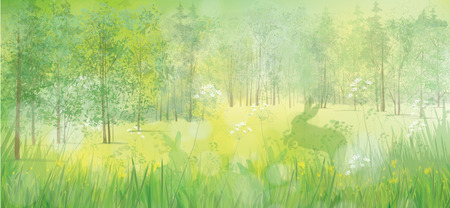Illustration pour rabbits in grass, spring  forest background. - image libre de droit