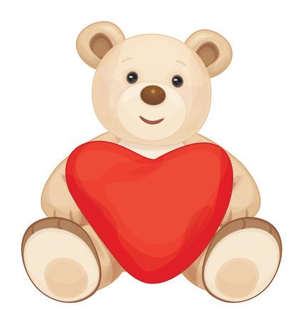 Illustration pour Brown sitting bear cartoon with heart. - image libre de droit