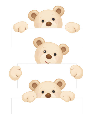 Illustration pour Cute brown bear holding blank isolated. - image libre de droit