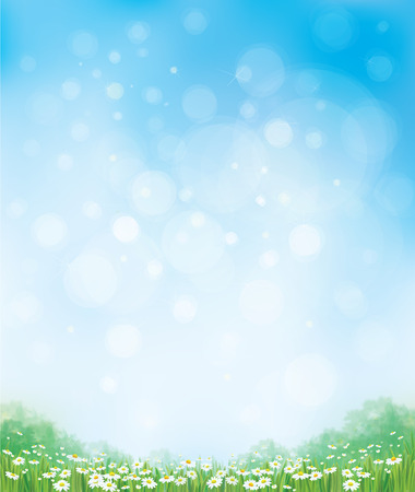 Ilustración de Vector summer nature  background, chamomiles field and  blue sky. - Imagen libre de derechos