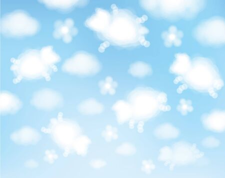 Illustration for Vector blue sky background. Cute, abstract, sheeps clouds cartoons.  - Royalty Free Image
