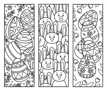 Illustration pour Vector Easter bookmarks for  kids coloring. - image libre de droit