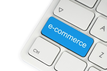 Blue e-commerce button on keyboard