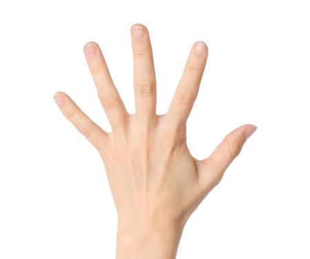 Photo pour Woman hand showing five fingers on white background  - image libre de droit