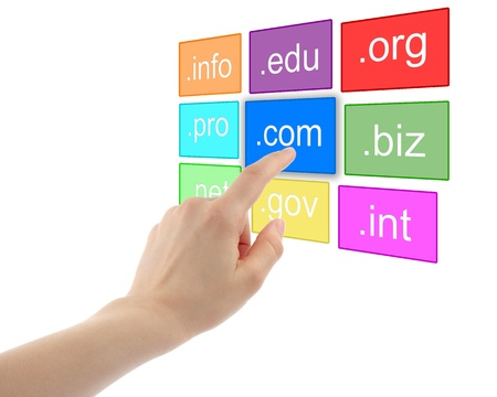 Hand pushing virtual domain name on white background, internet concept