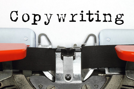 Photo pour Part of typing machine with typed copywriting word on white paper  - image libre de droit