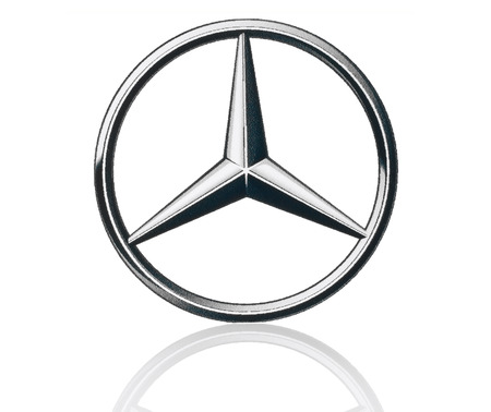 KIEV, UKRAINE - MARCH 21, 2015: Mercedes Benz logo printed on paper and placed on white background. Mercedes Benz is a German automobile manufacturer.