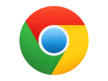 KIEV, UKRAINE - APRIL 27, 2015:Google Chrome logo printed on paper on white background. Google Chrome is a freeware web browser