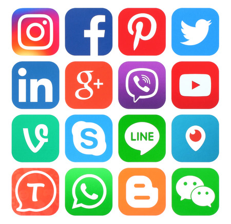 Photo for Kiev, Ukraine - May 30, 2016: Collection of popular social media icons printed on paper:Facebook, Twitter, Google Plus, Instagram, LinkedIn, Pinterest, Vine, Youtube and others - Royalty Free Image