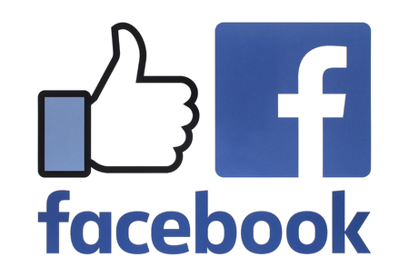 Photo pour Kiev, Ukraine - August 23, 2016: Collection of a new Facebook logos printed on white paper. Facebook is a well-known social networking service - image libre de droit