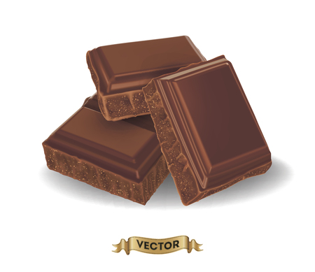 Illustration pour Realistic vector illustration of broken chocolate bar on white background - image libre de droit