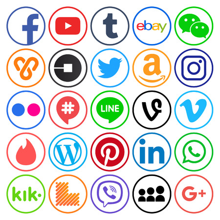 Photo for Kiev, Ukraine - September 11, 2017: Collection of popular round social media icons, printed on paper: Facebook, Twitter, Google Plus, Instagram, Pinterest, LinkedIn, Tumblr and others - Royalty Free Image