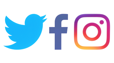 Photo for Kiev, Ukraine - Octobaer 06, 2017: Facebook, Twitter and Instagram logos printed on white paper - Royalty Free Image