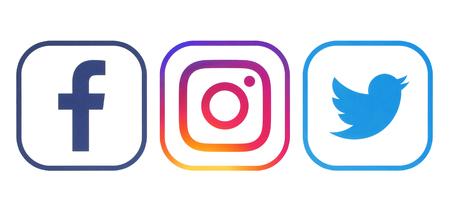 Photo pour Kiev, Ukraine - April 23, 2018: Facebook, Twitter and Instagram logos printed on white paper - image libre de droit