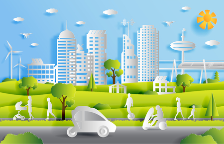 Illustration pour Concept of smart city with technologies of future and urban innovations, paper cut design vector illustration - image libre de droit
