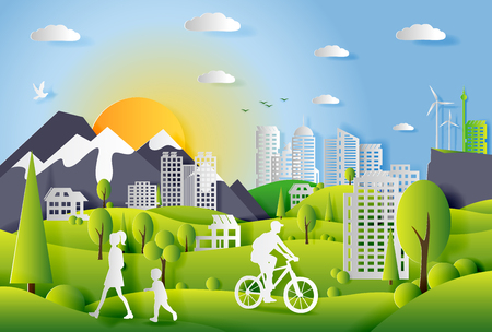 Illustration pour Concept of ecology city with technologies of future and urban innovations, paper cut design vector illustration - image libre de droit