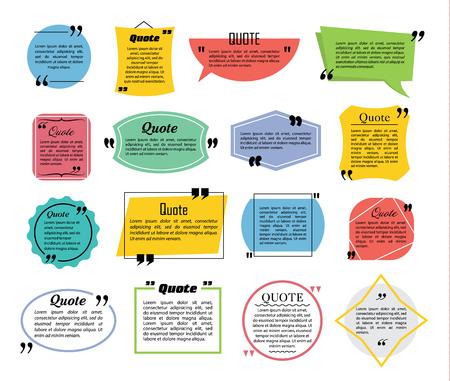 Illustration pour Quote speech bubbles, flat line design vector illustration - image libre de droit