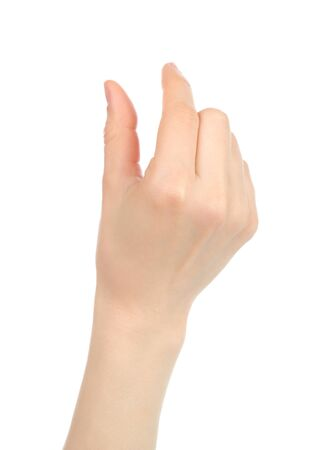 Photo pour Woman hand with gesture like enlarging the picture on tablet PC screen, on white background - image libre de droit