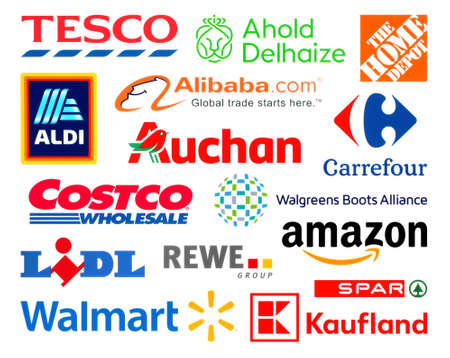 Photo for Kiev, Ukraine - February 23, 2020: Logos collection of the biggest world retails, such as: Amazon, Tesco, Alibaba, Lidl, Walmart, Aldi, Auchan, and others - Royalty Free Image