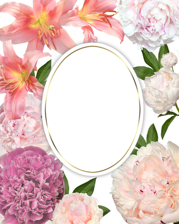 Photo pour Vintage spring romantic floral frame with gentle pink lilies, peony flowers and leaves. Festive background for greeting card, invitation, lable with round blank space for text, elegant floral design - image libre de droit