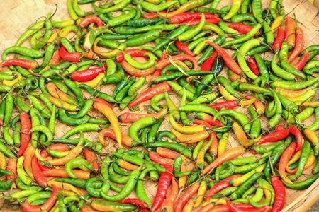 Wicker tray of green and red chili peppers sundrying along with some sparse red peppers on the floor in the rear part of the AD 19798-V.V.Khenchen Thrangu Rinpoche founded Thrangu Tashi Yangtse monastery. Namo Buddha-Kavrepalanchok distr.-Bagmati zone-Nep