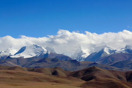 Himalayas-Lapche or Labuche Kang Himal. L.to R. Colangma 6952 ms.Gyao Kang 6720 ms.P.6850 IP.6850 II. From Tong La pass 5120 ms.-Friendship Hway.between Tingri and Nyalam towns-Nyalam county-Tibet