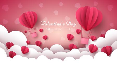 Illustration pour Valentine s Day illustration. Air balloon, heart, cloud Vector eps 10 - image libre de droit