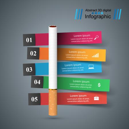 Harmful cigarette  business infographics Vector illustration.