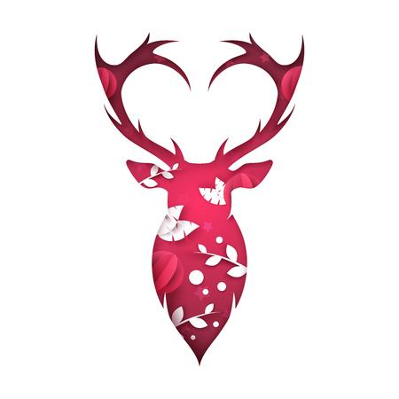 Illustration pour Deer illustration. Cartoon paper landscape. - image libre de droit