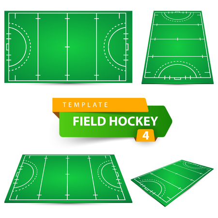 Illustration for Field hockey - four items template. Vector eps 10 - Royalty Free Image