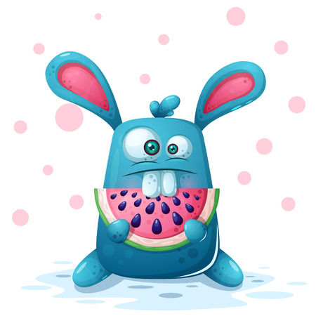 Illustration for Cute rabbit illustration with watermelon. Vector eps 10 - Royalty Free Image