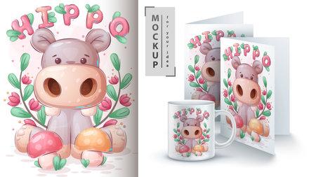 Ilustración de Hippo with mushroom poster and merchandising - Imagen libre de derechos