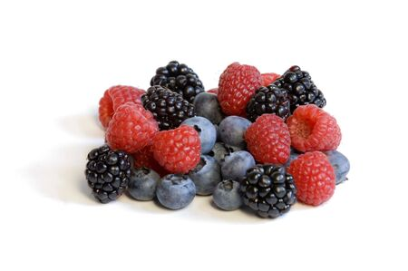 Mixed berries on a white background