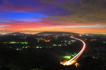 Photo pour Night Scene of a highway ,Formosa(Taiwan) - image libre de droit
