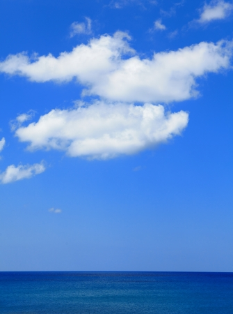 comfortable blue sea, sky and white cloud