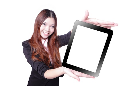 Foto per Business woman smile and showing tablet pc isolated on white background, model is a asian beauty - Immagine Royalty Free