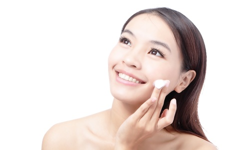 Beautiful woman washing her beauty face with cleansing foam on her ...