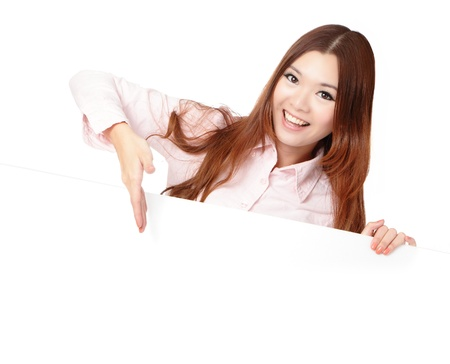 Young Business Woman Happy Smile Showing blank billboard isolated on white background, Model is a asian beauty