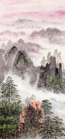 Photo pour Traditional Chinese painting of high mountain landscape with cloud and mist - image libre de droit