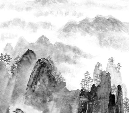 Photo pour Traditional Chinese painting of high mountain landscape, monochrome tone - image libre de droit