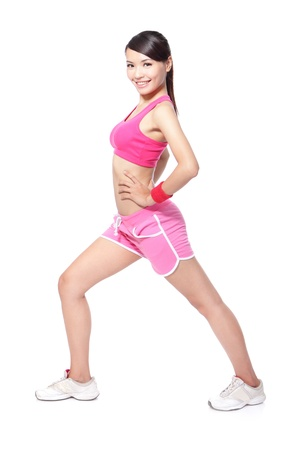 beautiful asian sport woman warming up for sport. healthy fitness lifestyle, full length isolated on white background