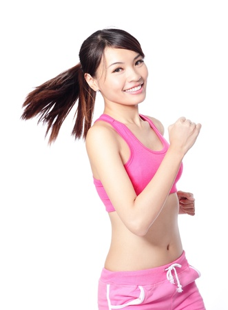 Runner girl isolated. Running fitness sport woman jogging smiling happy isolated on white background. model is a asian female