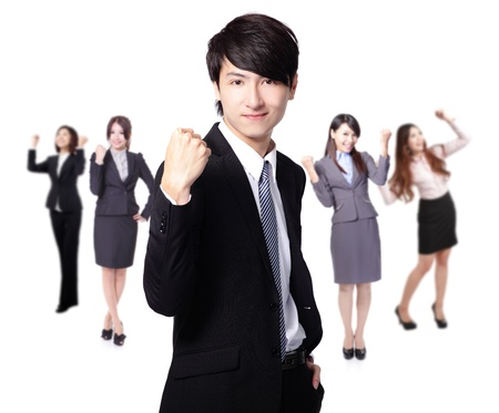 Successful excited Business man smile hold fist with young business people group team isolated over white background